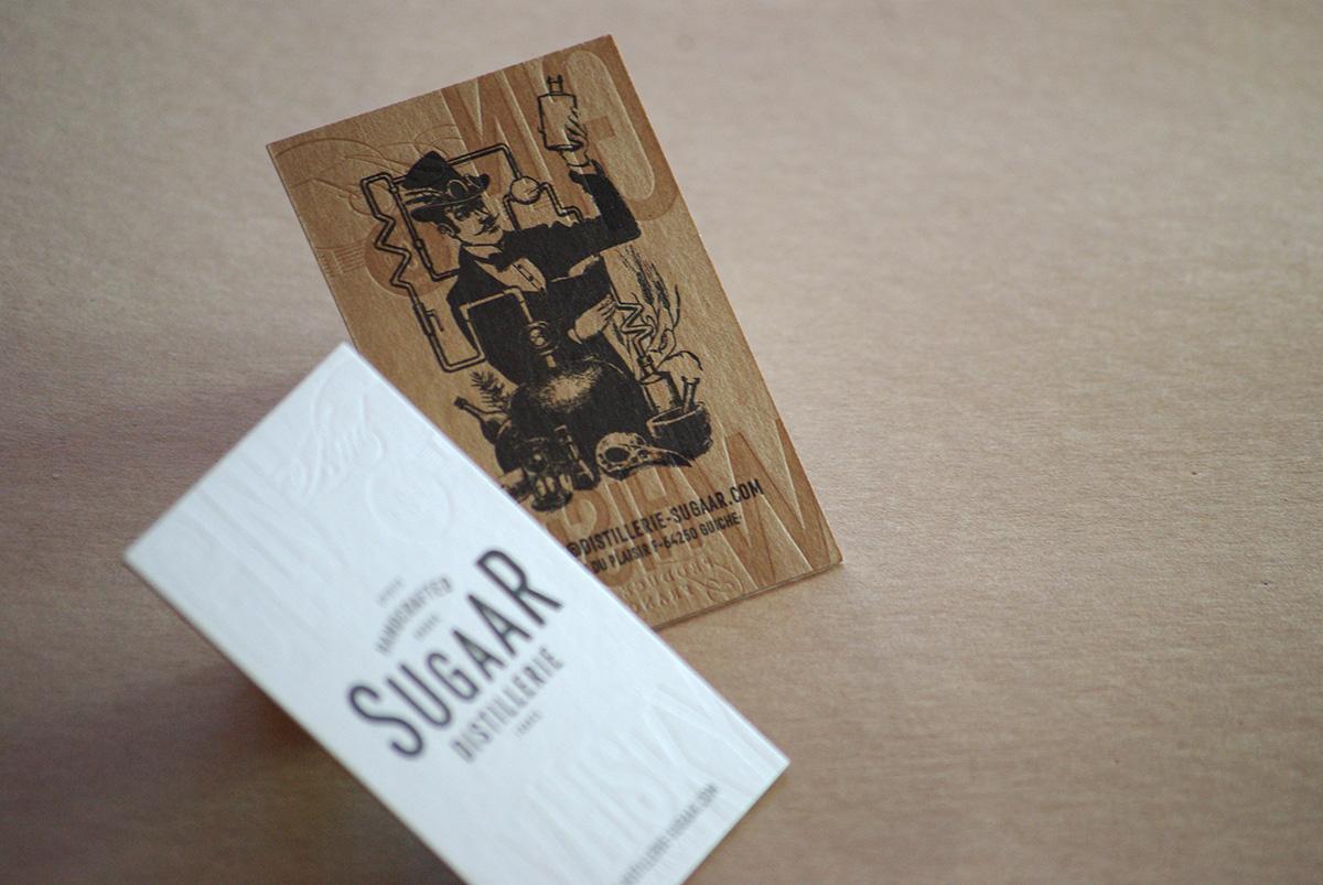 Carte De Visite Distillerie Sugaar V Dbossage Pur 1 Couleur Gaufrage R Contrecollage Oldmill Kraft