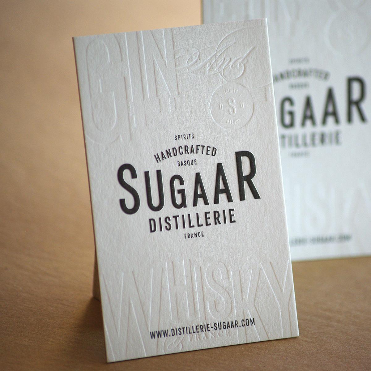 Carte De Visite Distillerie Sugaar R Dbossage Pur 1 Couleur Gaufrage V Contrecollage Oldmill Kraft